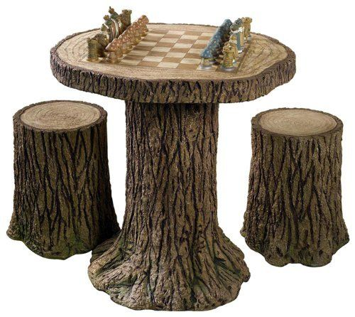 Chess set table -- great outdoor idea. #contest