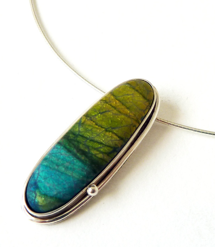 Horizon Pendant in Polymer Clay and Sterling Silver by RebeccaGeoffrey, via Etsy.