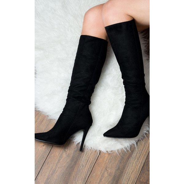 SpyLoveBuy Kind Zip Pointed Toe High Heel Stiletto Knee High Tall... ($48) ❤ liked on Polyvore featuring shoes, boots, black, knee high heel boots, black knee high heel boots, knee high stiletto boots, knee high boots and black boots