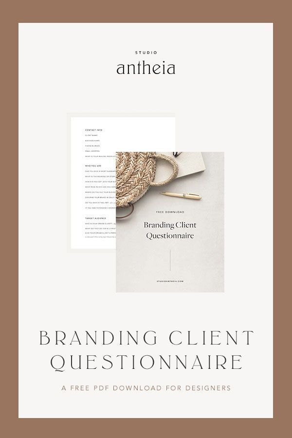 Free Branding Questionnaire Download Studio Antheia In 2020 Graphic Design Clients Business Branding Inspiration Business Design
