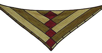 Eden Prairie garter stitch modular shawl, inspired by a piece of prairie-style stained glass.