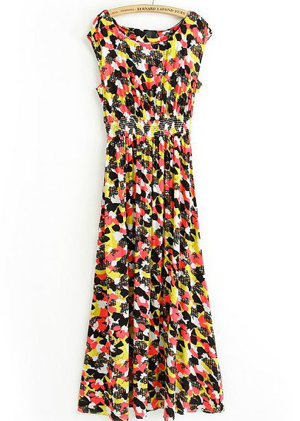 Black Red and Yellow Sleeveless Block Print Maxi Dress 0.00