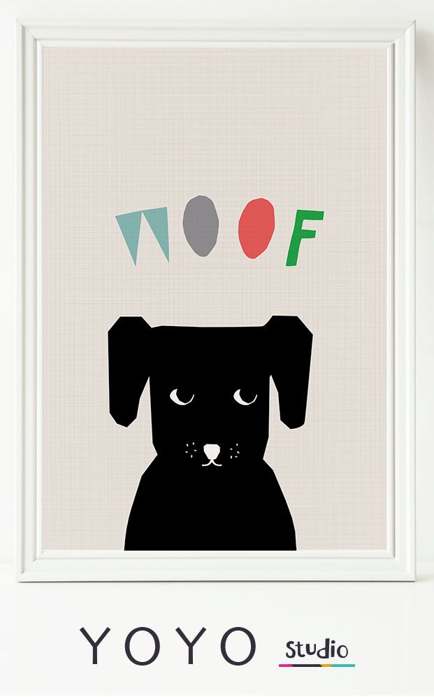 Dog print for Kids Nursery. Printable wall art of a gorgeous dog and woof illustration. Hand Drawn Lettering and a sweet black and white dog.