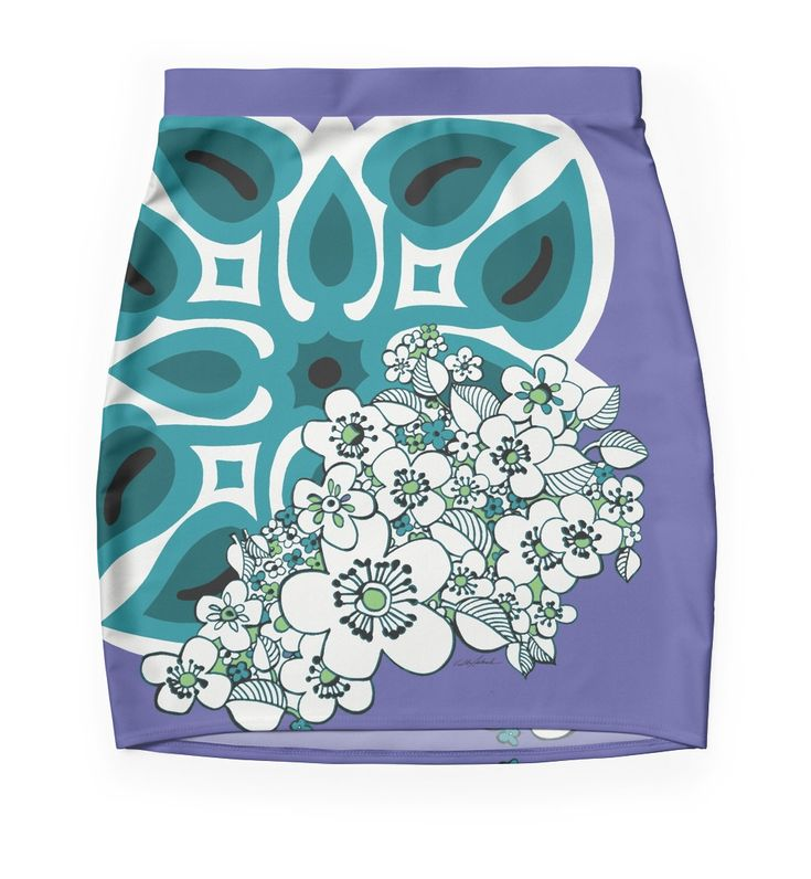 Surf It Retro Mini Skirt by Polka Dot Studio; this vintage Hawaiian tropical quilt design mixed with '60s flowers in periwinkle, teal and new lime is the perfect spring fashion statement. Fun, comfortable, great for travel or social event, you'll be a hit in this one of a kind designer skirt. Coordinating products available.
