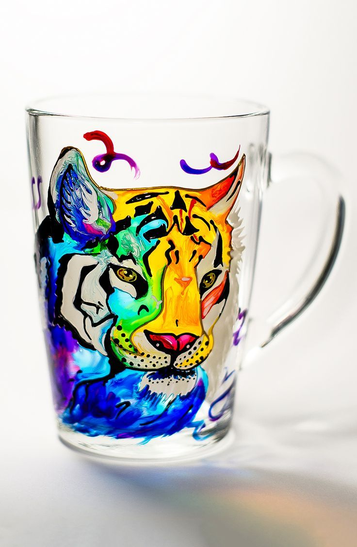 Gift for Dad, Fathers Day Mug, Tiger #Gift for him Coffee mug #Tiger painting Gift for Boyfriend Personalized gift Hand painted mug