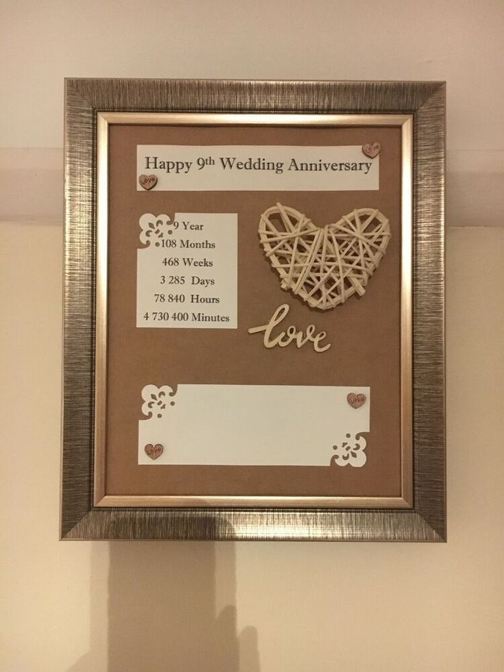 9th wedding anniversary frame rustic gift willow 3d