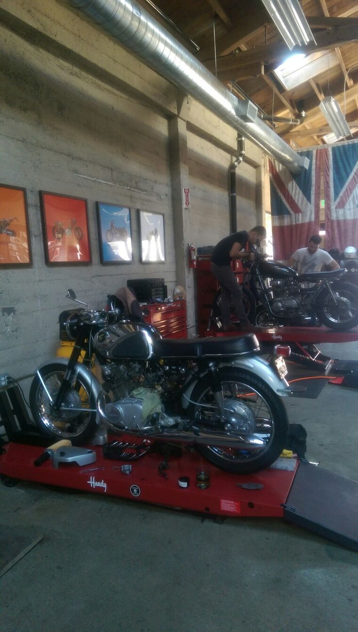 One day working on the honda cb77 superhawk at piston chain san francisco