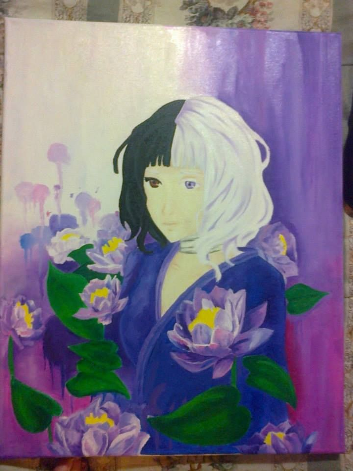 Pintura al oleo de Nishiki, Donten ni Warau. *Créditos a quien creo la imagen original*