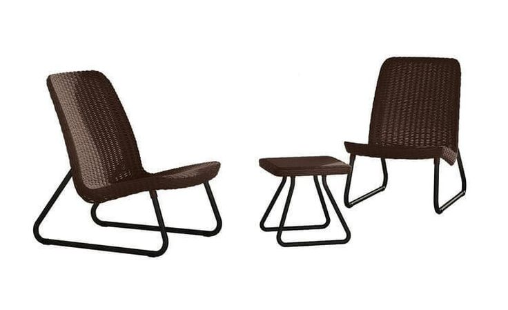 Outdoor Patio Furniture Set 3 Pc All Weather Garden Home Table Chair Brown New #KeterRio