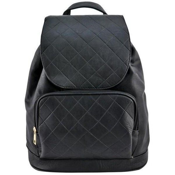 Black Blair Stitched Backpack ❤ liked on Polyvore featuring bags, backpacks, drawstring bag, stitch backpack, faux-leather backpack, vegan backpack and vegan leather backpack