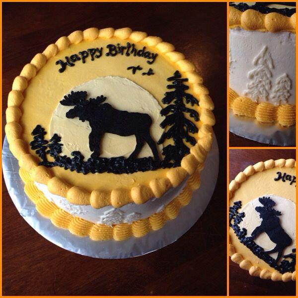 Moose wilderness silhouette buttercream birthday cake
