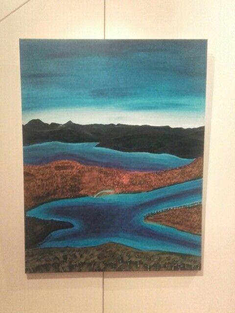 Acryl on canvas.  My first landscape.  'Idyll'