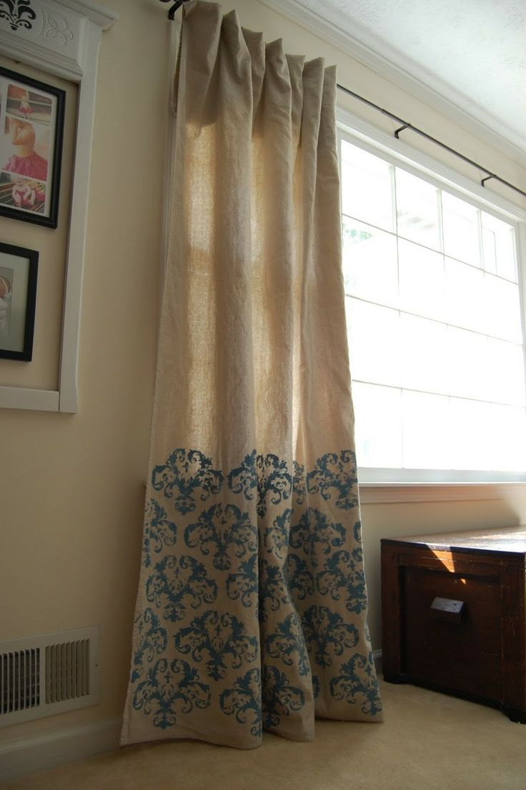 Drop Cloth Stenciled Curtains - she found her stencil at hobby lobby. | For  the Home | Pinterest | Stenciled curtains, Lobbies and Stenciling