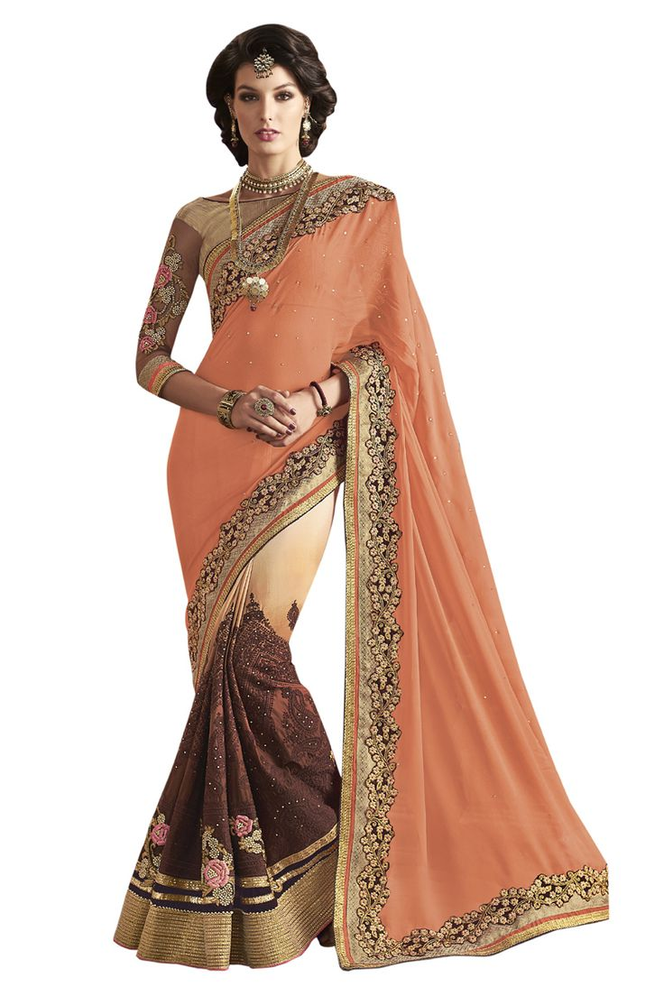 Buy Now Orange-Beige Fancy Embroidery Georgette Half-Half Wedding Wear Saree only at Lalgulal.com Price :- 4,472/- inr. To Order :- http://goo.gl/oOrFIQ COD & Free Shipping Available only in India