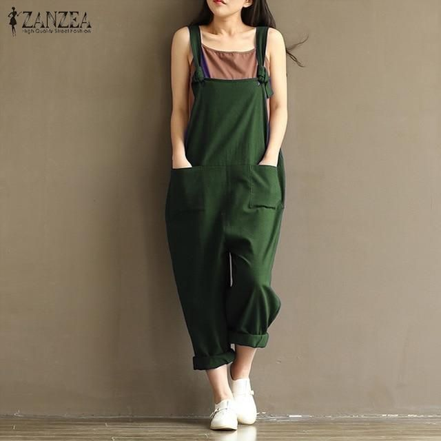 ee1fb0cf03c ZANZEA Rompers Womens Jumpsuits 2018 Casual Vintage Sleeveless Backless  Casual Loose Solid Overalls Strapless Plus Size