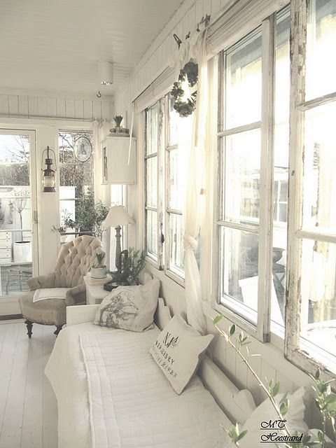 Enclose screened porch - love all the white - of course, so would my dogs!