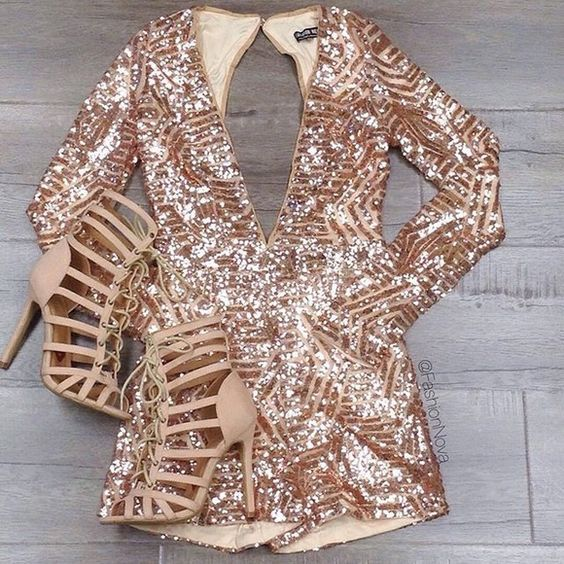 28 Gorgeous Bachelorette Outfits With A Wow Factor: #5. Rose gold sequin romper with a plunging neckline and a cutout back
