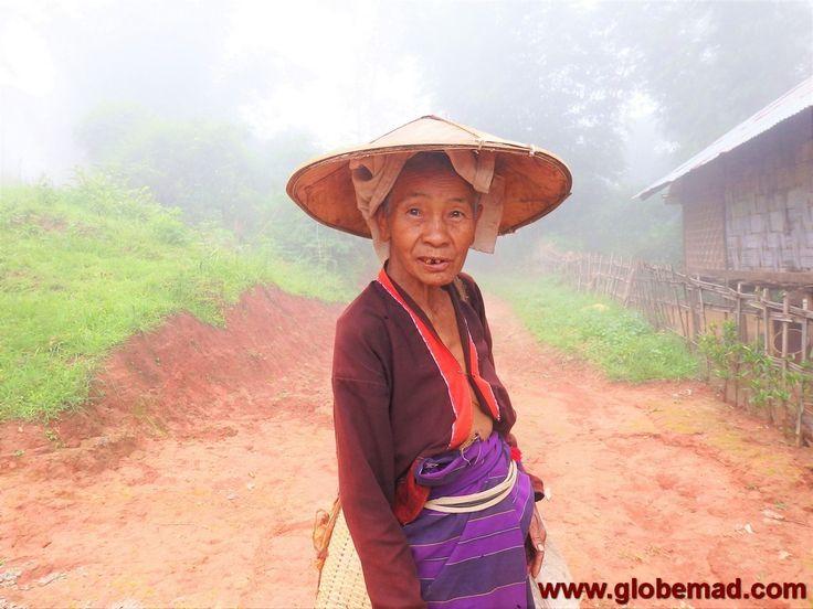 Palaung tribe tea picker trekking from Hsipaw to Pankam village shan state Myanmar Burma Globemad photography