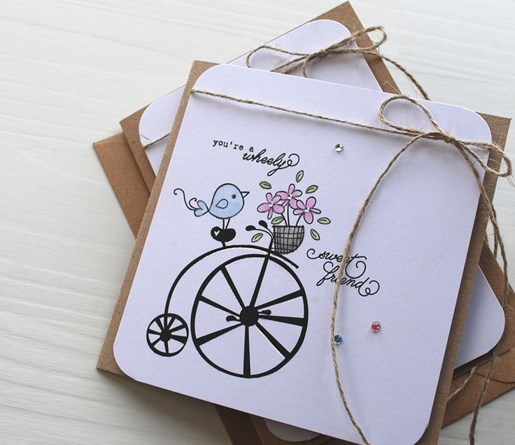 Bicycle card using 'Wheely Lovely' printable Image Stamps.