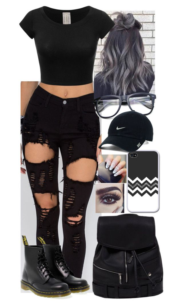 """Popular emo nerd"" by mayal-2 ❤ liked on Polyvore featuring Dr. Martens and NIKE"