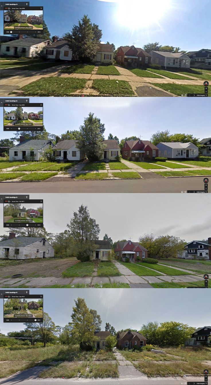 Hazelridge Street, Detroit (2008, 2009, 2011, 2013) Intense Before-and-After Google Street View Pictures Perfectly Capture Detroit's Decline - PolicyMic