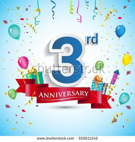 3rd Years Anniversary Celebration Design, with gift box and balloons, Red ribbon, Colorful Vector template elements for your, three years birthday celebration party.