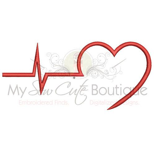 EKG Embroidery Design - 4x4, 5x7 & 6x10 - Instant Download