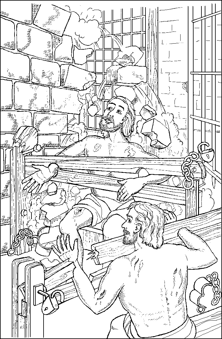 Childrens coloring sheet of saul and ananias - Paul And Silas In The Earthquake In Jail
