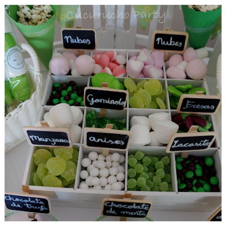 Candy Bar chuches verdes y blancas