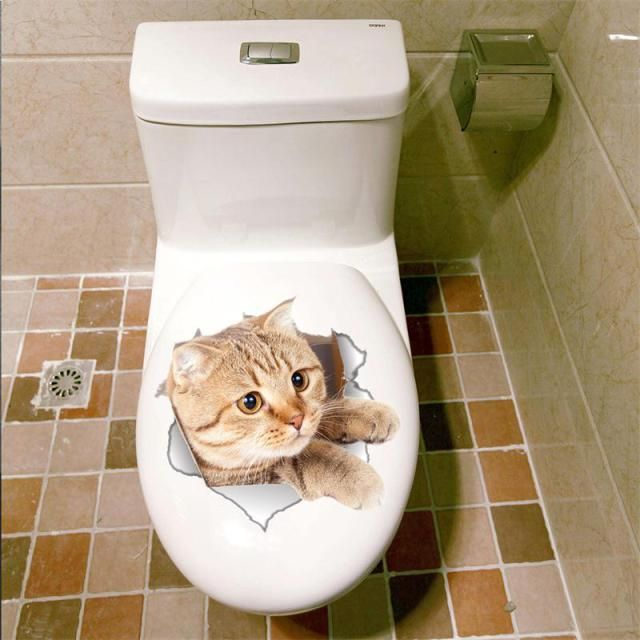 Cat 3d Bathroom Toilet Decorative Decals Stickers Wall Stickers