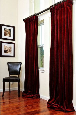 Claret Red Vintage Cotton Velvet Curtain - Overstock™ Shopping - Great Deals on EFF Curtains