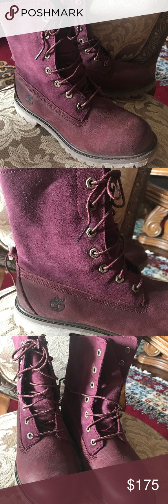 Selling this New Timberland maroon boots size 8.5 on Poshmark! My username is: shoppiiiiing. #shopmycloset #poshmark #fashion #shopping #style #forsale #Timberland #Shoes