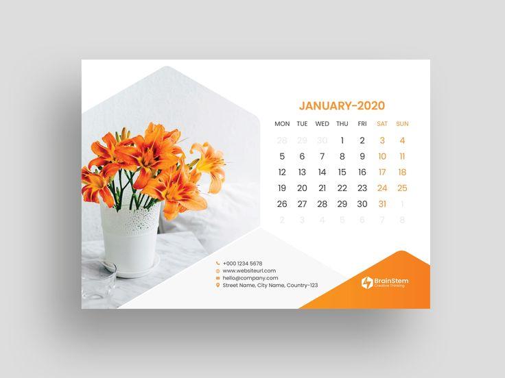 Desk Calendar 2020 Calendar Design Template Calendar Design Layout Calendar 2019 Design