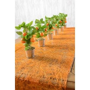 Chemin de table abaca orange pas chère en fibres naturelles 5 M x 30 cm, art de table, mariage, déco de table, tables festives, déco naturelle, baptême.