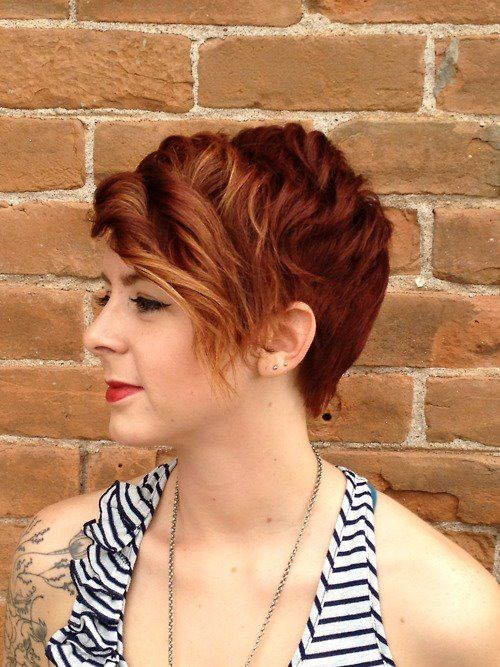 red pixie, long in front
