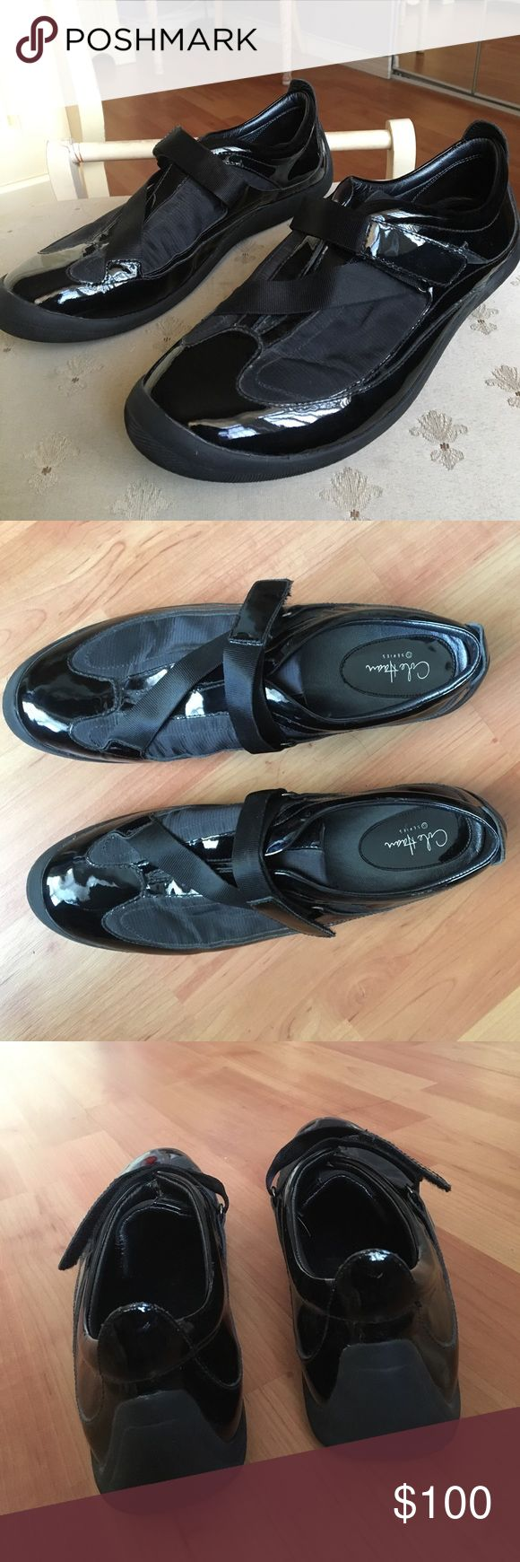 Cole Haan shoes Black High gloss Cole Haan dress shoes with Velcro strap. Used only on 1 occasion. No scuffs or scratches on black shiny areas. Looks brand new. Cole Haan Shoes Sneakers