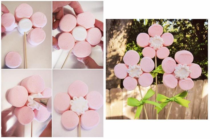 Flores con marshmallow