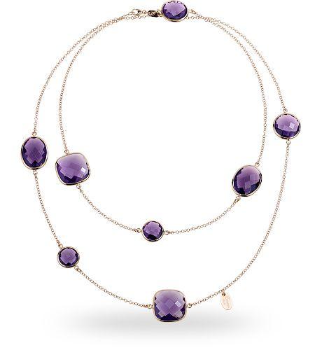 Collana in argento rosso 925 con 90.00 ct. di ametista di sintesi - Zoccai 925 #silver #necklace #violet
