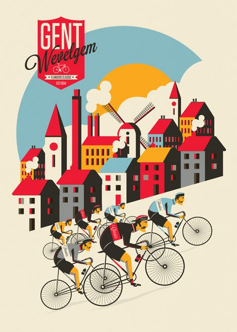 Spring Classic Cycling Prints by Neil Stevens, via Behance www.boxerbranddesign.com/blog