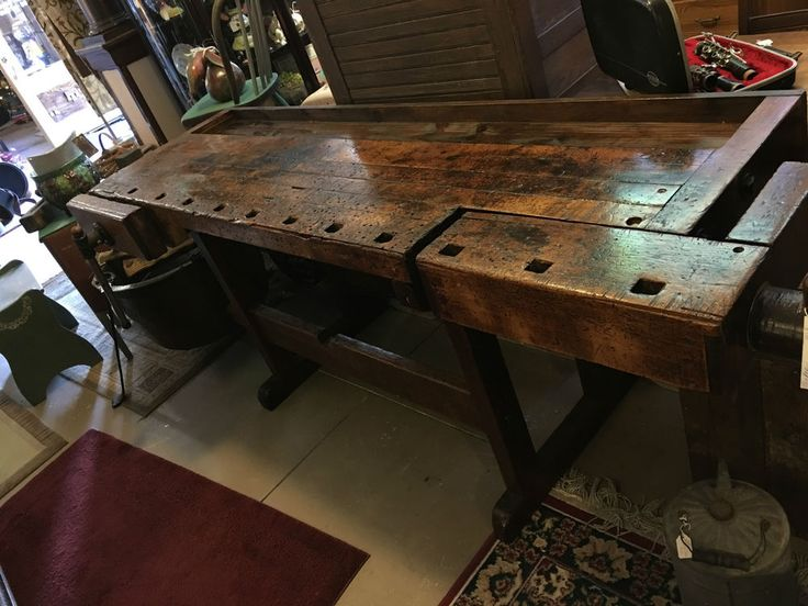 ANTIQUE WORK BENCH-CLEANED AND RESTORED FOR YOUR HOME  AT CHRISTMAS-HO-HO-HO    #USAWORKBENCH #UNKNOWN