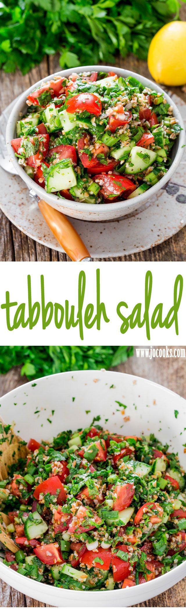 Tabbouleh Salad: a traditional refreshing tabbouleh salad featuring bulgur wheat, tomatoes, cucumber and loads of parsley and mint dressed with lemon and olive oil.