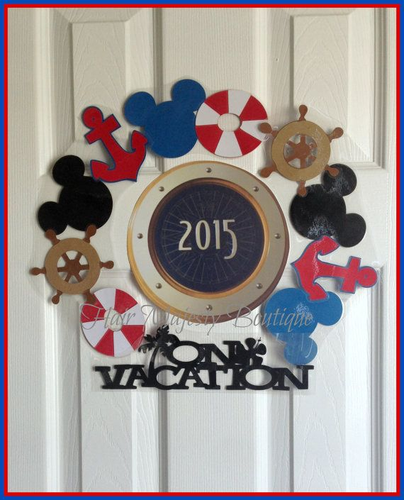 This is MY one of a kind design .Nautical Mickey Mouse wreath for cruise door.This is made out of mickey mouse heads,lifesavers,wheels,anchors,and On Vacation sign.This fits around the porthole of your favorite disney cruise.Its laminated and has strong magnets that wont fall off your door.It is shipped in a few sections so you can adjust it to fit the porthole.Magnets range around 3-4 inches each before they are grouped together. I will include10 pieces total.Perfect for all those Disney…