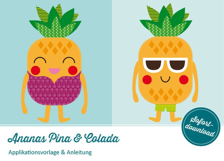Applikationsvorlage Ananas Pina & Colada |  Shop: http://de.dawanda.com/product/102944331-applikation-ananas-pina-colada-vorlageanleitung | https://www.makerist.de/patterns/applikation-ananas-pina-colada-vorlage-anleitung