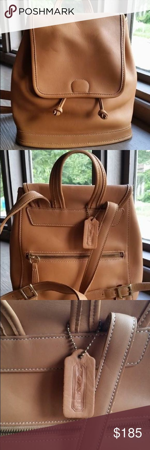 "Vintage COACH backpack purse Authentic, vintage COACH backpack. Brown/Tan. It was purchased from TJ MAXX awhile back- which is why there is an ""X"" marking on the inside- it is authentic. EXCELLENT condition- never used. Brand new. Coach Bags Backpacks"