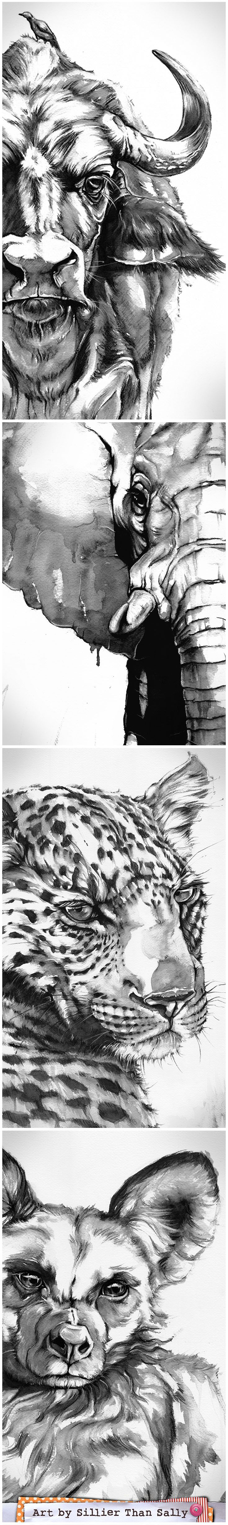 Striking Illustrative Black & White Watercolour Animal Art by Sillier Than Sally.   www.sillierthansally.com     Image of: African Wild Animals. African Buffalo, Elephant, African Leopard, African Wild Dog. Commission Wildlife Artist.