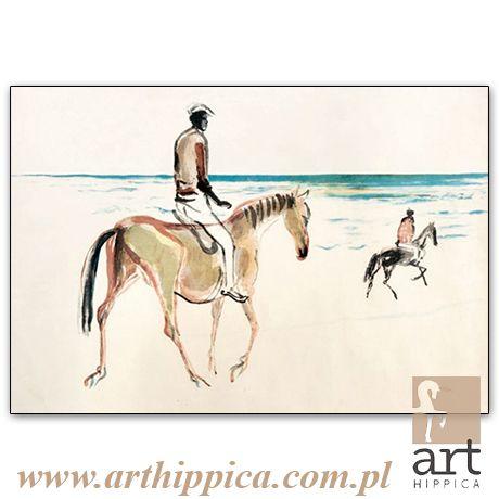 Horse - Painting - Holler Josef | PRZEJAŻDŻKA |  A painting by Josef Holler. Signature: Josef Holler; Technique: watercolor; Dimensions: 74 x 51 cm; Exhibitions: Czech Parliament, Millennium gallery – Prague.