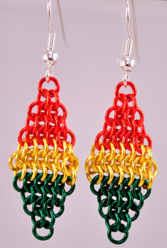 Chainmaille Rasta Earrings by TheAlaskanMailleMan on Etsy