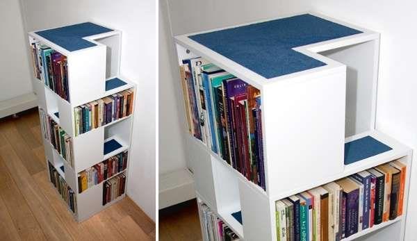"Creative Kitty Furnishings bookshelf cat tower. Cat furniture that doesn't scream ""I'm an insane cat person!"""