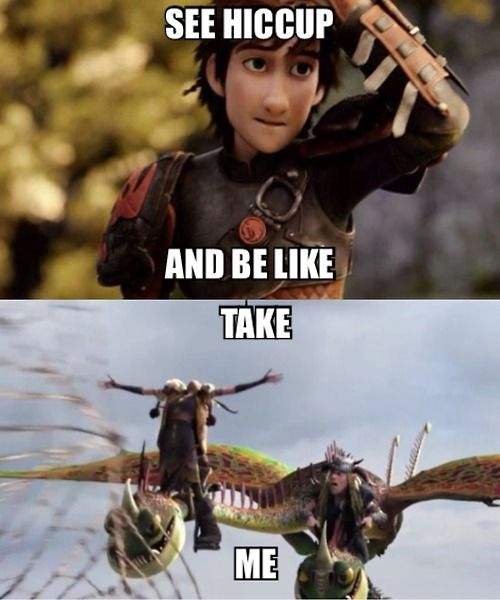 See Hiccup and be like, Take Me! See HTTYD 2and be like, Why Toothless Why? (Spoiler Alert! Toothless kills Stoick)!