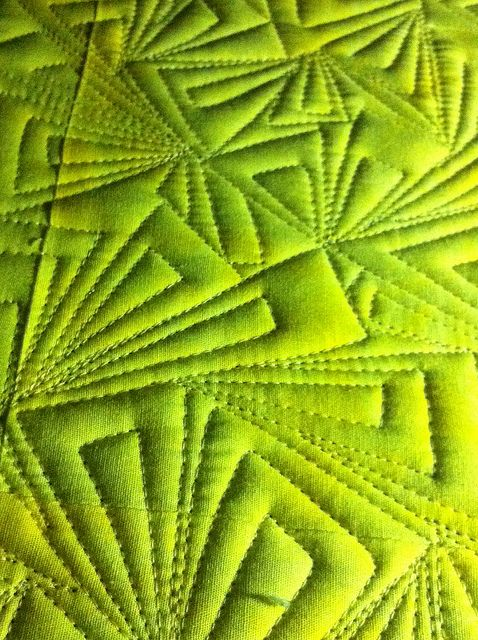 Modern free motion quilting triangles awesomeness WIP by lolablueocean, via Flickr